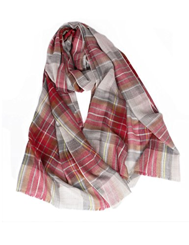WM BEAUTY Oversized Cashmere Tartan Scarf Shawl Wine