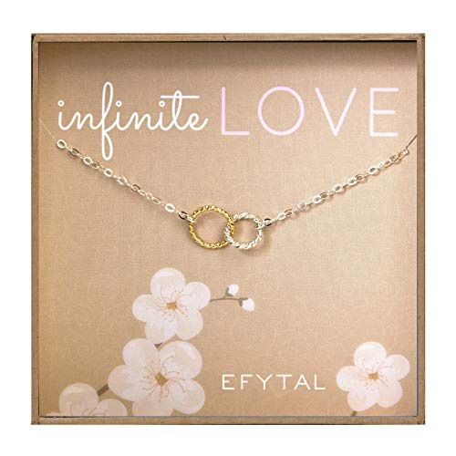 - EFYTAL Gift for Girlfriend/Wife, Sterling Silver & Gold Filled Cute Infinity Necklace Sweet Gifts, Valentines Day