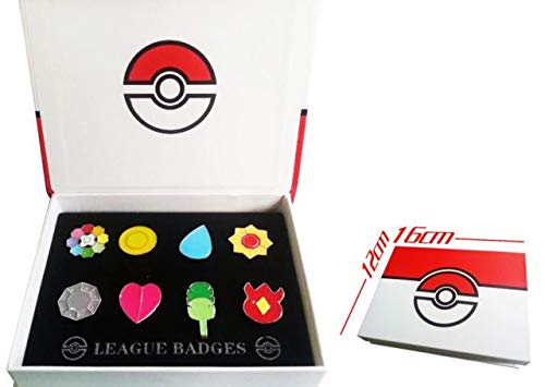 New Version V3 Ash Gym Badges Johto Gen 2 Badges Collection box Set of 8pcs 2016 ()