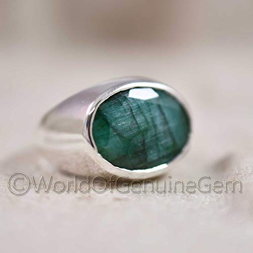 Designer Statement Ring, Emerald Corundum Gemstone Mens Jewelry, Genuine Quality Silver Ring, Made In India, Handcrafted Men's Ring, Elegant Ring, Solid 925 Silver, Engagement Gift Ring (Best Jewelry Designers In The World)