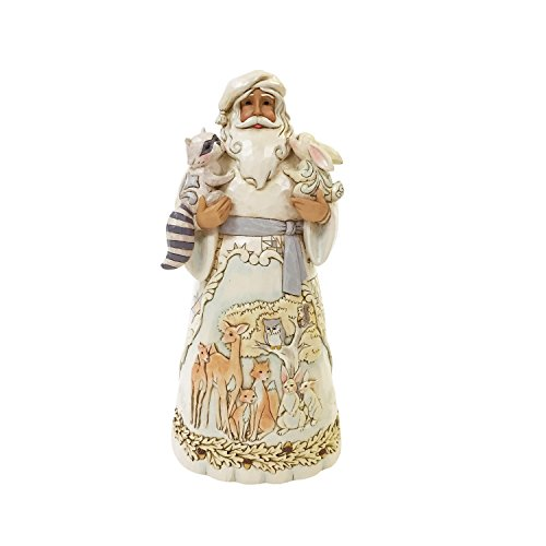 (Enesco Jim Shore Heartwood Creek White Woodland Santa with Animals Figurine, White)