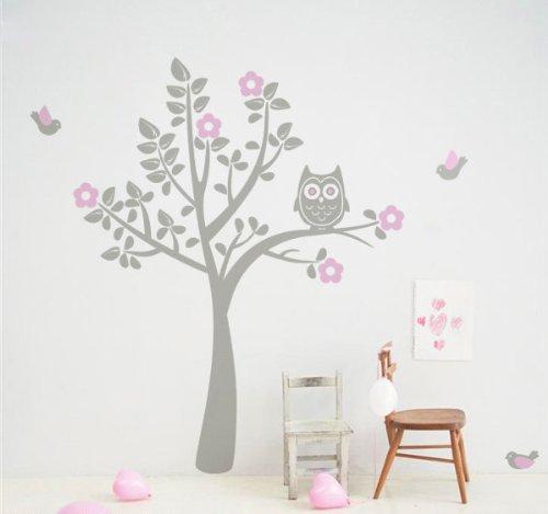 wandtattoo baum grau. Black Bedroom Furniture Sets. Home Design Ideas