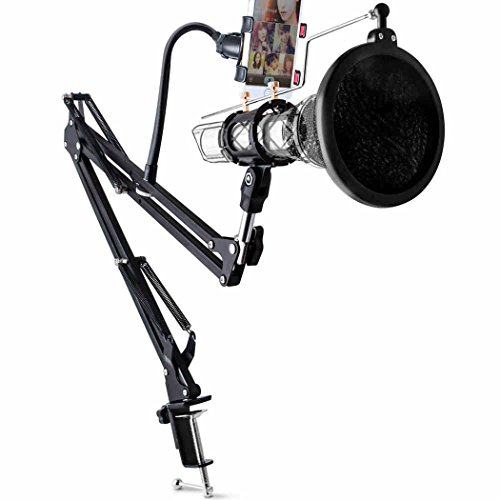 Arm Microphone Stand, Microphone Adjustable Desk Suspension Boom Scissor Arm Stand with Microphone Clamp With Phone Holder Kit, With Pop Filter And Replaceable Shock Mount Suitable (Black) ()