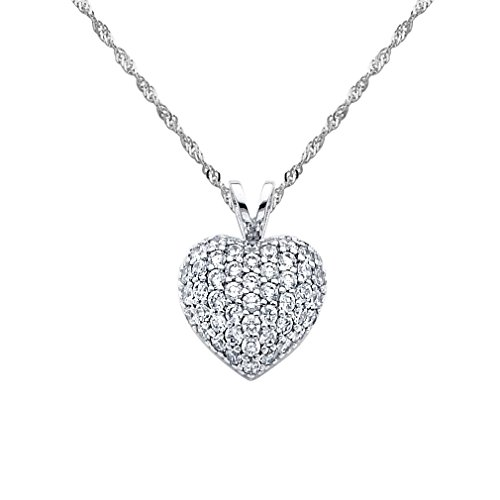 Wellingsale 14k White Gold Polished Love Heart CZ Cubic Zirconia Charm Pendant with 1.2mm Singapore Chain Neckalce