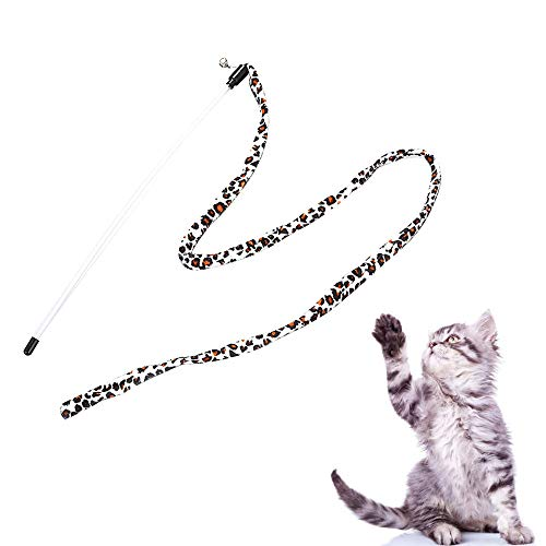 Euone Chaser Stick Clearance , Kitten Cat Pet Toy Chaser Stick Leopard Print Color Interactive Play Fun Toys -