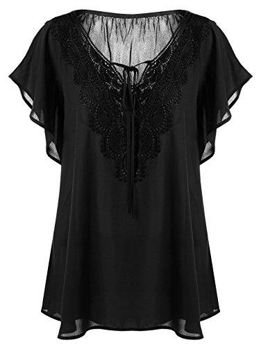MERRYA Women's Plus Size Flutter Sleeve Lace up Chiffon Blouse Tunic Tops Size 20 Plus (Black) (Tops Plus Flutter Sleeve)