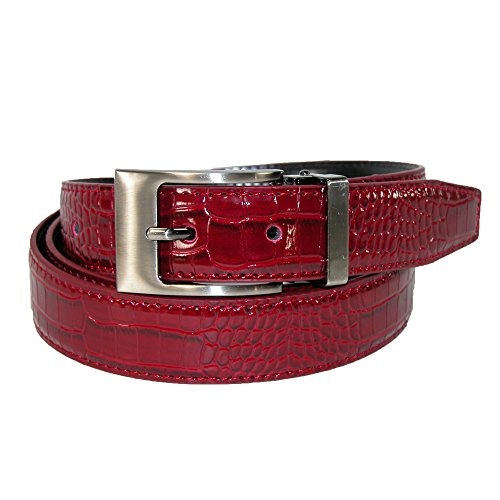 [CTM Men's Leather Croc Print Dress Belt with Clamp On Buckle, 42, Burgundy] (Reptile Buckle Belt)