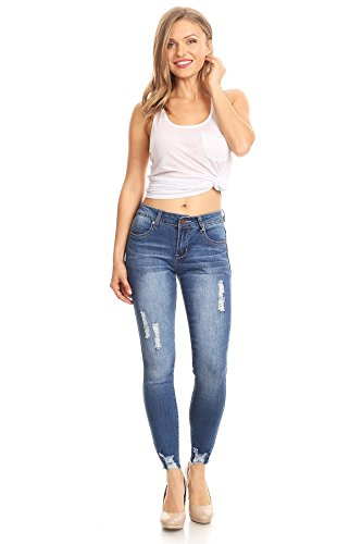 Ks more Womans Juniors Casual Destroyed Ripped Distressed Skinny Denim Jeans