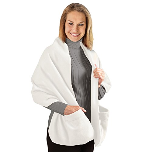 Fleece Wrap Shawl With Pockets, Winter White