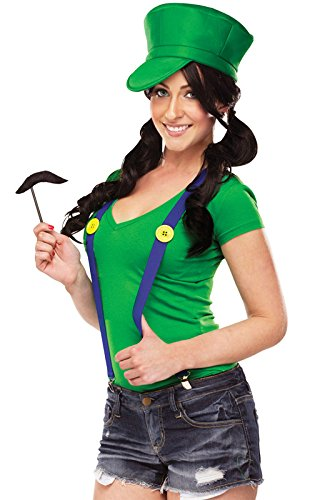 Luigi Costume Womens (Fun World Women's Video Game Gal Instant Costume Kit, Green,)