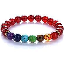 KISSPAT Natural Gemstone Bracelet Semi Precious Stones Crystal Healing Stretch Beaded Bracelet Unisex