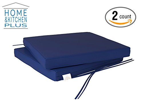 Outdoor Chair Cushions | Patio Seat Pads | Set of 2 | Waterproof Washable  Removable Cover | To Use On Deck Picnic Beach Pool Foam Padding 16 X 16 (Royal Blue) 2 Colors Available To Choose From (Patio Cushion Pads Chair)