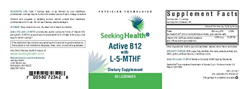 Seeking Health | Active B12 Lozenge with L 5 MTHF | Vitamin B12 Supplement | Methylfolate | 60 Lozenges