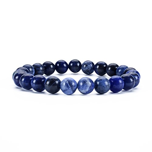 Cherry Tree Collection Gemstone Beaded Stretch Bracelet 8mm Round Beads | Medium (Sodalite)]()