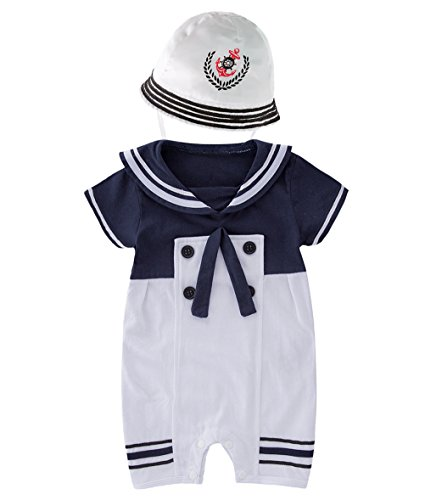 May's Baby Toddler Boys Sailor Marine Navy Romper Onesie Outfit With Hat