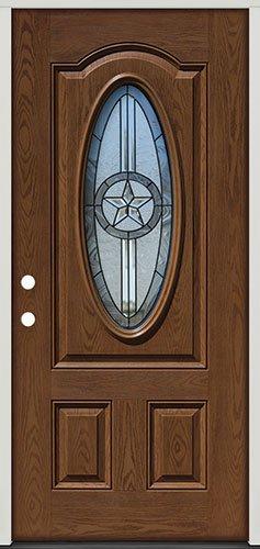 Fiberglass Front Door, 3/4 Oval Texas Star #60 Patina, Pre