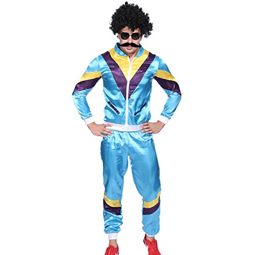 [1980s Mens Shell Suit Scouser Tracksuit Costume Fancy Dress] (1980s Dress)