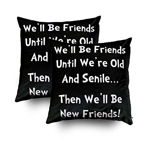 EMMTEEY Home Decor Throw Pillowcase for Sofa Cushion Cover,New Friends Decorative Square Accent Zippered and Double Sided Printing Pillow Case Covers 20X20Inch,Set of 2