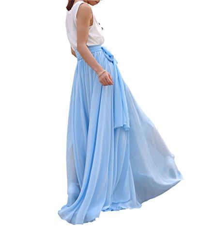 Plage Beatiful Été Cravate Arc Féminin Melansay En Mousseline De Soie Haut De Ciel Jupe Maxi Ceinture Bleue