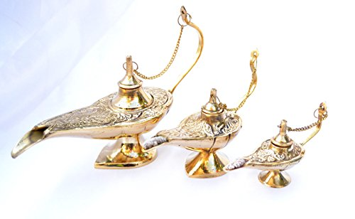LOT 3 Aladin Alladin Genie Oil Solid Brass Ornate Lamps Lightin Different Size