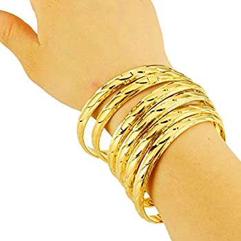 LAVI 18k Gold Plated Stackable Bangle Stainless Steel Open Cuff Bracelets for Women Jewelry,2.6