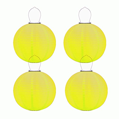 (pearlstar Solar Chinese Lanterns Lights Hanging 4 Pack 12'' Waterproof Outdoor Nylon LED Yellow Lanterns (4 Pack Yellow))