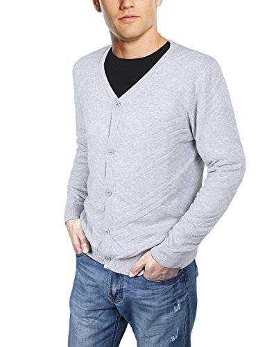 uideazone Mens Casual V Neck Button Fine Knit Cardigan Sweater Autumn Winter Outwear Coat Small