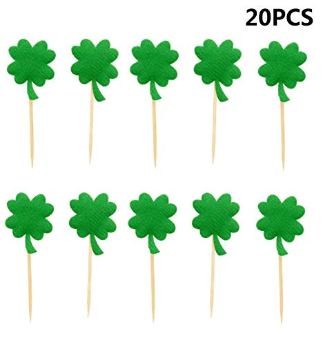 20pcs Four Leaves Cupcake Toppers Cupcake Picks Toppers for St Patrick's Day Party Decorations - Dark Green]()