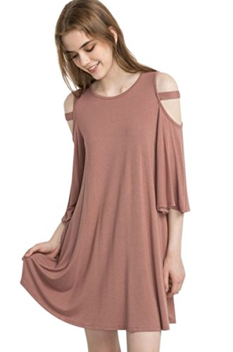 Mittoshop Bamboo Fiber Knit Open Cold Shoulder 3/4 Bell Sleeve Scoop Neck Swing Dress with Pockets, Made in USA (Large, Mauve) ()