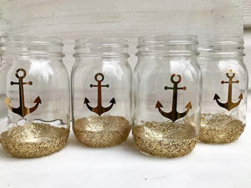 Glitter Dipped Mason Jar Set For Nautical Centerpiece Rustic Wedding Decorations For Table Beach Home -