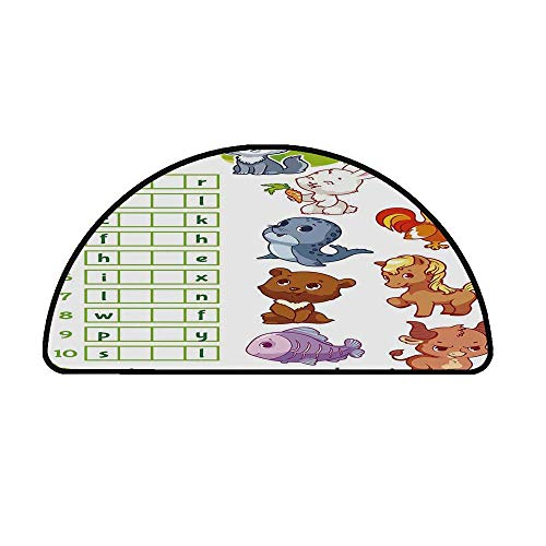 Word Search Puzzle Comfortable Semicircle Mat,Rebus Game with Animals for Preschool Kids Find Correct Part of Words Decorative for Living Room,21.6