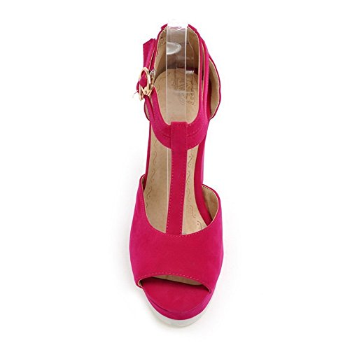 BalaMasa Womens Double Breasted Peep-Toe Frosted Sandals RoseRed 4ZSka