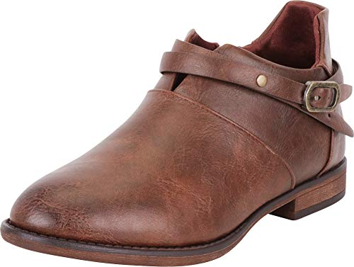 Cambridge Select Women's Distressed Crisscross Strappy Low Heel Shootie Ankle Bootie,8 B(M) US,Brown ()