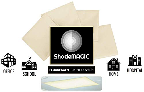 ShadeMAGIC Fluorescent Light Filter Covers (Beige) - Diffuser Pack; Eliminate Harsh Glare That Causes Eyestrain and Head Strain The The Classroom or at Office. (4) ()