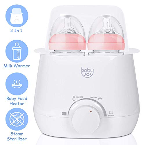 BABY JOY 3-in-1 Baby Bottle Warmer, Food Warmer, Steam Sterilizer, Portable Warming Breast Milk, Double Bottles Warmer with Accurate Temperature Control, Dry-Fire Protection, Including Bottle Brush &a