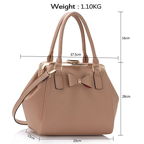 Tote Designer Metal Ladies Nude Handbags And Medium Bags Leather Work Faux With Womens Bow qtwPdt