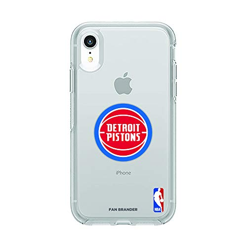 (Fan Brander NBA Clear Phone case with Primary Logo Design, Compatible with Apple iPhone XR with OtterBox Symmetry Series (Detroit Pistons))