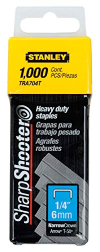 Stanley TRA704T 1/4-Inch Heavy Duty Staples, Pack of 1000 (Staple Gun Staples)
