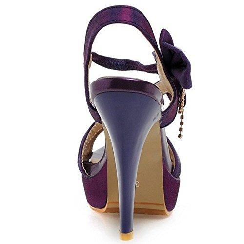 TAOFFEN Elegante Mujer Tacon Alto Sandalias Tacon De Aguja Peep Toe Plataforma Zapatos De Bowknot Purpura