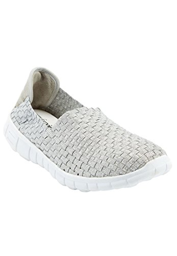 Bargain Catalog Outlet Comfortview Plus Size Ria Woven Sneaker (Silver,8 - Athletic Outlet