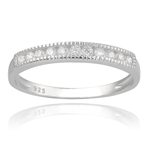 3mm Brinley Co Sterling Silver Cubic Zirconia Engagement Band (size 5-9)