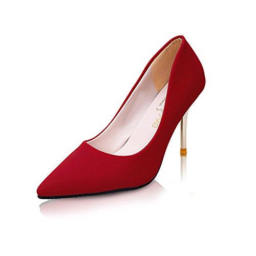 TMKOO 2017 zapatos de primavera y verano con altas puntas de gamuza zapatos de tacones altos versión coreana Rojo