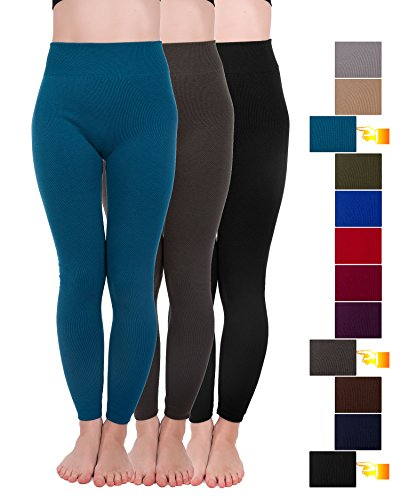 (Homma 3 Pack Extra-Thick French Terry Thermal Leggings (2X-Large/3X-Large, Black,Teal,D.Grey))