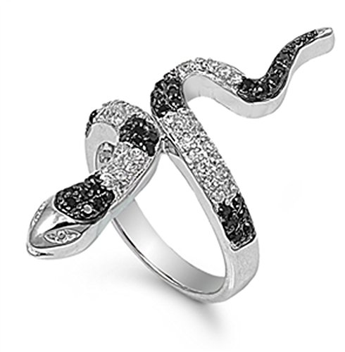 Black Simulated CZ Polished Micro Pave Snake Ring New .925 Sterling Silver Band Size 8