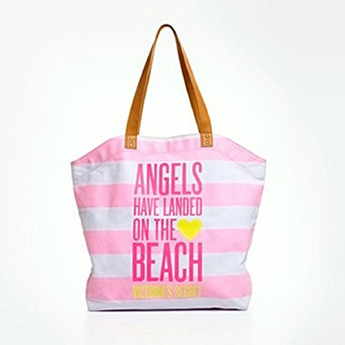 Victoria's Secret Angels Have Landed on the Beach Striped Tote Bag