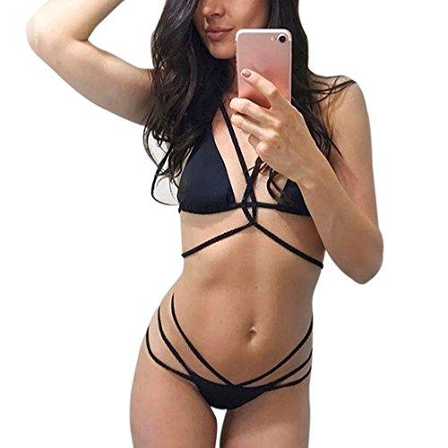 2 de arena o Sujetador de push o piezas con up de Traje con acolchado vendaje Bikini brasile Negro ba playa de Mujer HOtgqnR