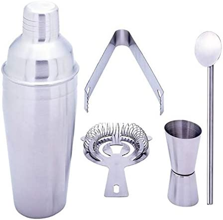 Gifts Infinity 5 Piece Stainless Steel Bar Set – 18.5 oz Martini Cocktail Shaker, Stirrer, Strainer, Double Jigger, and Ice Tongs. 2