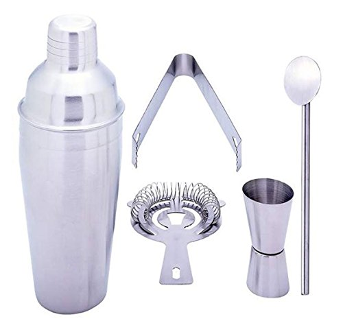 Gifts Infinity® 5 Piece Stainless Steel Bar Set - 18.5 oz Martini & Cocktail Shaker, Stirrer, Strainer, Double Jigger, and Ice Tongs. (1) -