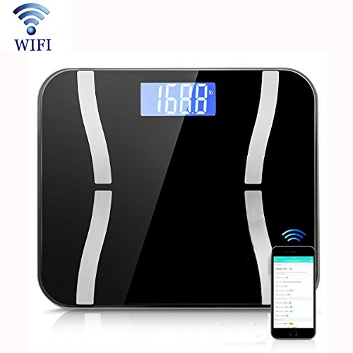 FlightingLive Body Fat Scale, Wi-Fi Digital Bathroom Scale, Body Composition Monitor, Supports Android and iOS and Multi-user for Body Weight, Fat, Protein, Muscle Mass, Bone Mass, BMI etc (Black)