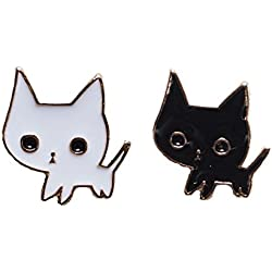 Brand New Set of 2 Matching Black and White Kitty Cat Enamel Lapel Pins